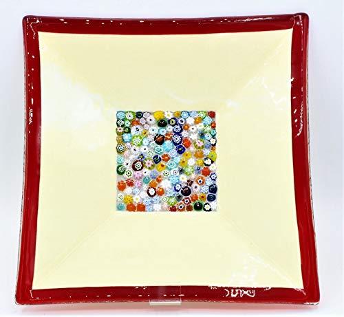 LE GEMME DI VENEZIA Murano Collection Teller aus Muranoglas mit Murrine Millefiori Einlage Made in Italy