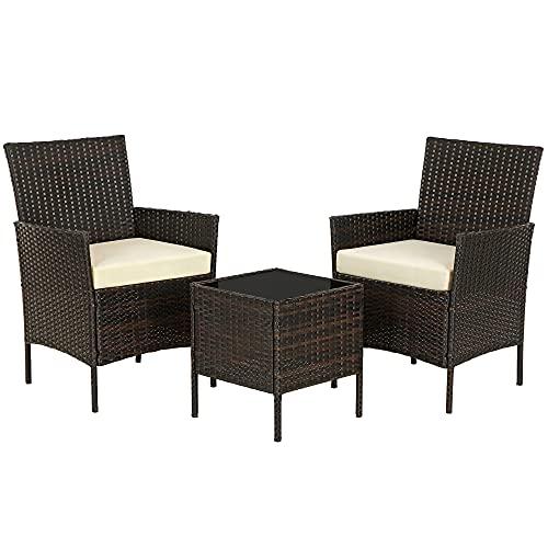 SONGMICS Gartenmöbel-Set aus Polyrattan, Lounge-Set, in Rattanoptik, Terrassenmöbel, Balkonmöbel, für Terrasse, Garten, Balkon, braun-beigeGGF001K02