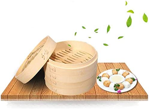 Premium Organic Bamboo Steamer Large 2 Tiers With Lid Strong Durable And Reinforced Best Healthy product image