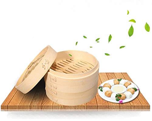 Vaporiera in bambù biologico Premium Large 2-Tiers con coperchio Forte durevole e rinforzato Migliore cottura sana per verdure dim sum Carne Pesce