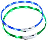 Zacro 2PCS LED Dog Collar, Light up Dog Collar, USB Rechargeable Light Up Pet Safety Collar with 3 Glowing Modes and Adjustable Size Fit for All Dog, Cat and Pets (Green and Blue)