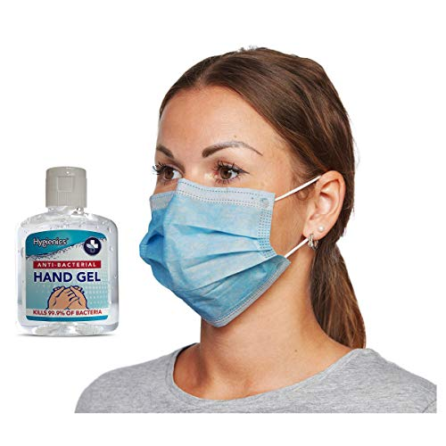 50 Face Masks, Disposable Face Masks 3 Ply Non Medical Mask Water Resistant Mask Protection with 100ml Hand Sanitiser Gel 70% Alcohol by Hygienics Sanitizer [50 Face Masks Boxed]