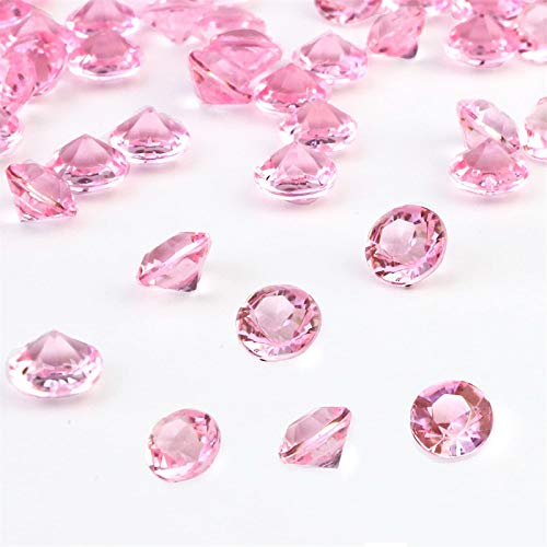 OUTUXED 1500pcs 8mm Clear Pink Wedding Table Scattering Crystals Acrylic Diamonds Wedding Bridal Shower Party Decorations Vase Fillers.