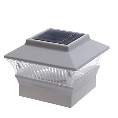 """12 Pack Solar White Color Square Post Fence Mount 4x4 (Will Only FIT 4"""" x 4"""" PVC Posts not Wood Post)"""