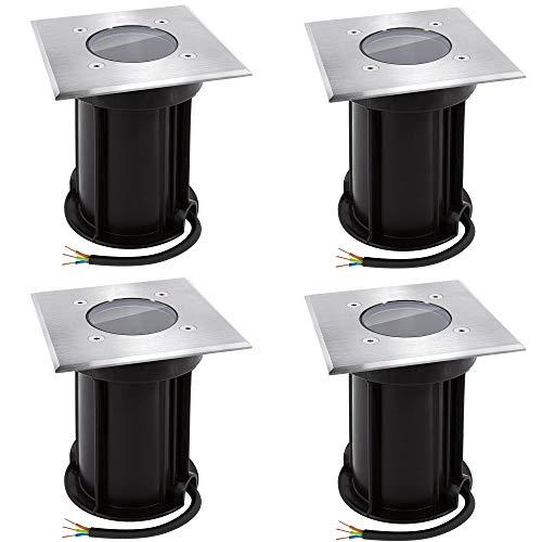 linovum BOQU 4er Set Bodeneinbauleuchte für GU10 - Bodenleuchte außen IP67 befahrbar in eckig gebürstet, Anschlusskabel 230V