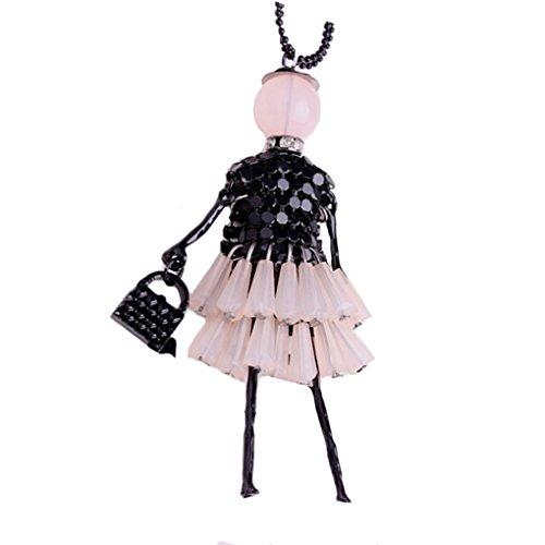 Bobury Mujeres suéter Cadena Collar de Moda cristalina Collar Colgante Collar Largo