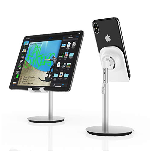 Cell Phone Stand, Tablet Holder, SAIJI Height Adjustable Aluminum Mount Dock, Compatible with iPhone Samsung Cell Phone, Tablet, iPad, Nintendo Switch, Kindle, Up to 10 Inch Screen (Sliver) …