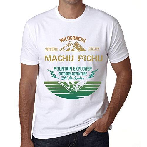 Herren Tee Männer Vintage T shirt Mountain Explorer MACHU PICHU Weiß