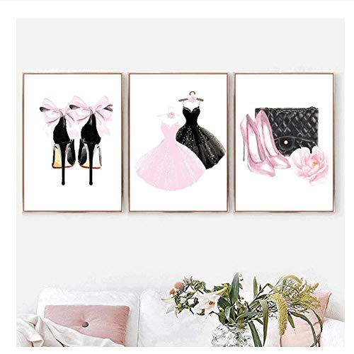 xwwnzdq muurkunst canvas schilderij roze dames jurk hoge hak Nordic poster en print aquarel wandafbeeldingen voor woonkamer meisje 60x80 cm x 3 stuks