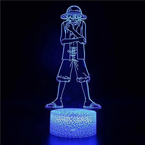 Novela Luffy pirata personaje de dibujos animados base de grietas luz de noche led interruptor táctil luz multicolor decoración de habitación luz niños bebé luz de noche
