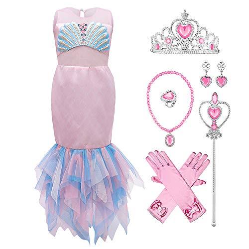 IMEKIS Vestido de sirena para nias, vestido de princesa Ariel, disfraz de carnaval, disfraz de cosplay sin mangas, cola de pez con volantes, tut para cumpleaos