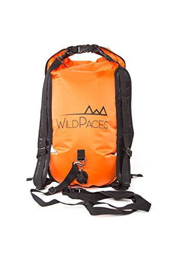 WildPaces Swim Buoy Tow Float Backpack, 28 litres Dry Bag Waterproof High Visibility Orange for Open Water Swimming Sports, Camping and Hiking