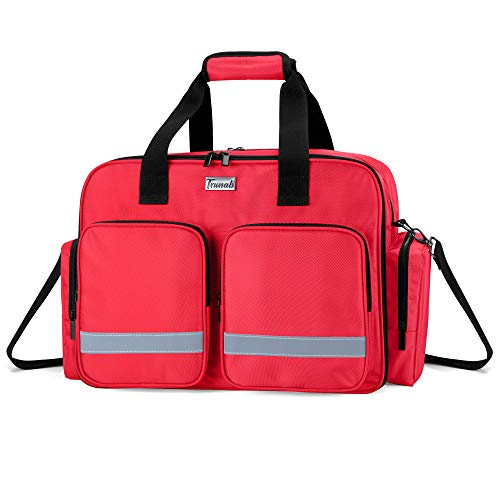 Trunab Medical Supplies Bag Empty Home Health Nurse Bag with MultipleampLarge Compartment Medical Shoulder Bag for Physical Therapists Paramedic Health Care Professionals Red  Patented Design