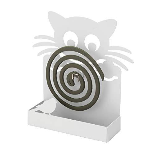 Porta Zampirone in Metallo Gatto Bianco. Portazampirone da Interno o da Esterno 17X5X19cm