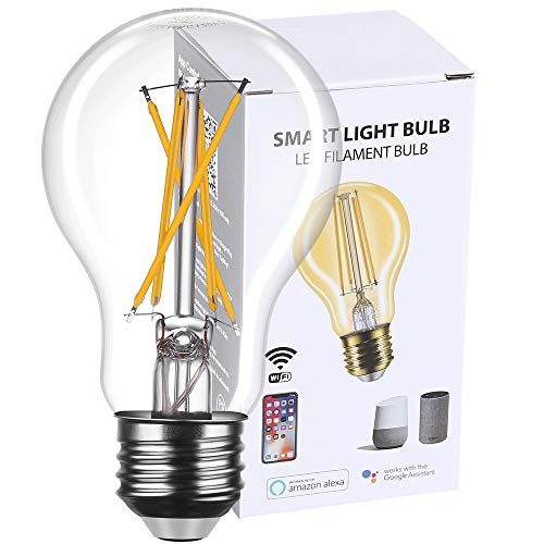 Smart Light Bulb LED Dimmable No Hub Required, App and Voice Control Compatible with Alexa Google Assistant E26 Dimmable (A19 Clear, 1 Pack)