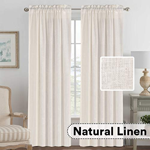H.VERSAILTEX Linen Curtains Light Filtering Privacy Protecting Panels Premium Soft Rich Material Drapes with Rod Pocket, 2-Pack, 52 Wide x 96 inch Long, Natural