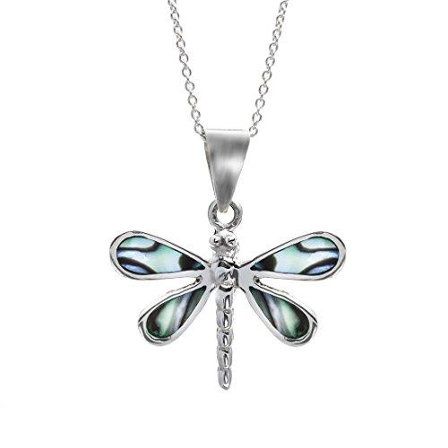 Silverly Collar Mujer Libélula de Plata 925 Colgante con Oreja de Mar