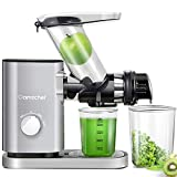 AMZCHEF Slow Juicer Machines Slow Masticating Juicer Cold Press Juicer Vegetables&Fruits Extractor 3'' Large Feed Chute Non-porous Filter Easy Clean ≤55dB 2 Speeds Jug Brush BPA-Free