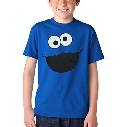 Sesame Street Cookie Monster Face Youth Kids T-Shirt-Youth Small [6/8] Blue