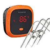 Inkbird IBT-4XC Thermomètre Cuisine Étanche,Bluetooth Thermometre Barbecue avec Sonde Température,Thermometre Cuisson Viande Rechargeable Magnétique pour Barbecue Electrique,Mini Four,Fumoir,Poisson
