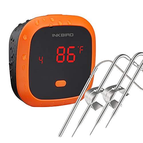 Inkbird Grillthermometer IBT-4XC mit IPX5 Wasserdicht, Grillthermometer Bluetooth Fleischthermometer mit 4 Temperaturfühler,USB Wiederaufladbarer Ofenthermometer mit Magnet für Küche,Backofen,Grill