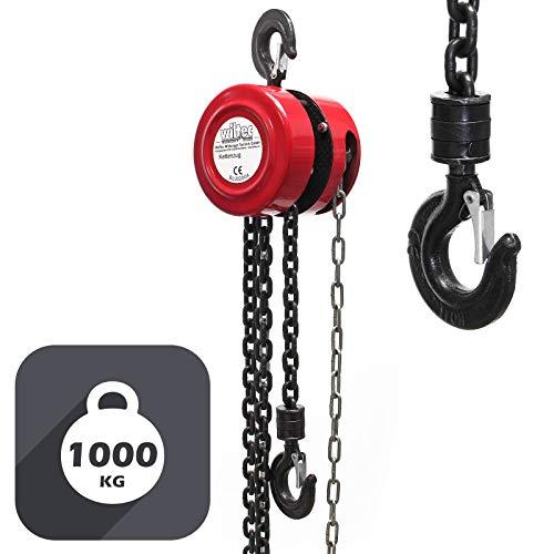 Polipasto manual de cadena 1000kg con cadena 3m, elevación de cargas forestales, en talleres,...