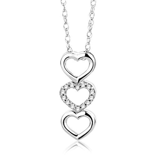 Orovi Collana - Pendente - Ciondolo Donna Cuore con Catena in Oro Bianco con Diamanti Taglio Brillante Oro 18 kt /750 Catenina Cm 45
