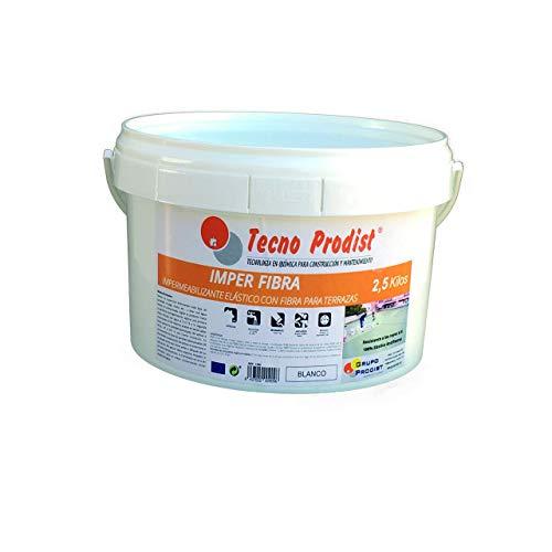 Imper Tecno Prodist – 2,5 kg (weiß) Terrassenfarbe wasserdicht und elastisch mit integrierten Fasern – gute Qualität – (Roller oder Pinsel)