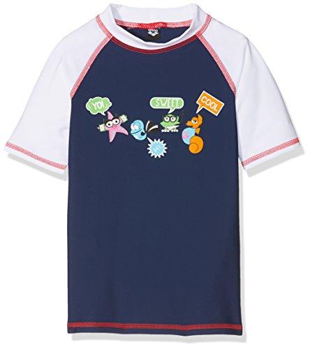ARENA 000433_4-5 Camiseta de Manga Corta con protección Solar, Unisex niños, Navy/Blanco, 4-5