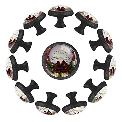 Pomos para cajones de tocador Pomos de puerta Pomos de armario Campanas de Navidad arco de hojas de nieve doradas Armario de bricolaje, cocina, baño, armario, tiradores con tornillos, 12 piezas