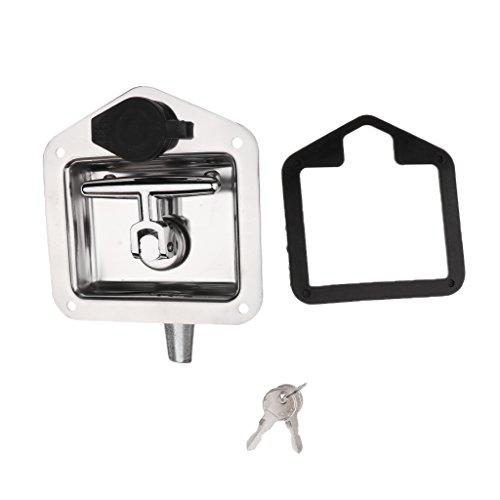 MagiDeal Verrouillage pour Boîte à Outils en Acier Inoxydable Poignée T avec 2 Clés pour Remorque Camion - Argent 120mm*120mm*60mm