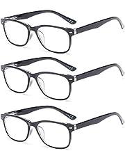 Suertree 3 Pack Anti-Blauwe Leesbrillen, Computer Brillen, Blauw Licht Filterbril, Blokkerende UV-Computerbril, Visuele Leesbrillen, Leesbril Heren Dames Zwart 3.5 BM161