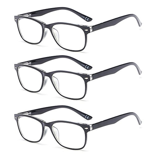 Suertree Lesebrille 3 Pack Leicht Leser Federscharnier Augenoptik Brille Lesehilfe für Damen Herren 1.0x