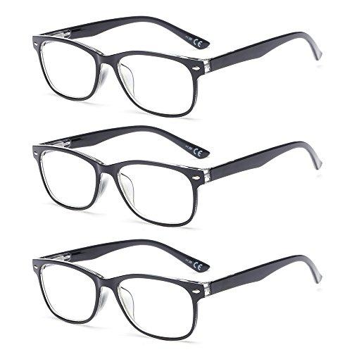 Suertree Anti-blaue (3 Pack) Lesebrillen Sehhilfe Augenoptik Feder Scharnier Brille Lesehilfe für Damen Herren von BM161 3.5x