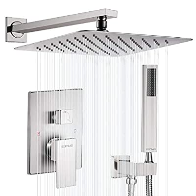 """Esnbia Shower System, Brushed Nickel Shower Faucet Set with Valve and 10"""" Rain Shower Head Systems Wall Mounted Shower Combo Set for Bathroom All Metal"""