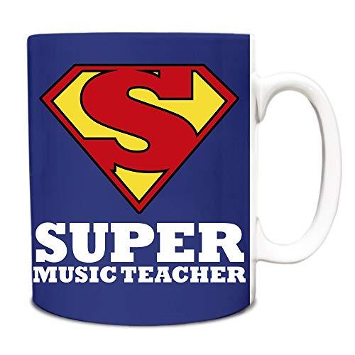 Taza de té, de cerámica blanca, taza de café, azul real, superprofesor de música, héroe, título de trabajo, divertido, 325 ml