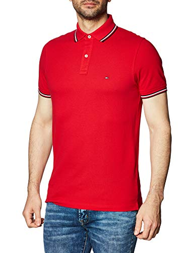 Tommy Hilfiger Tommy Tipped Slim Polo Camisa, Primary Red, L para Hombre