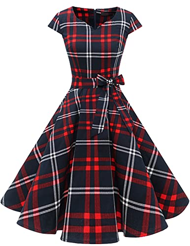 Women 50s Dress Vintage Cocktail Dresses 1950s Rockabilly Audrey Hepburn Dress for Prom Bridesmaid Party Homecoming Red White Grid XL