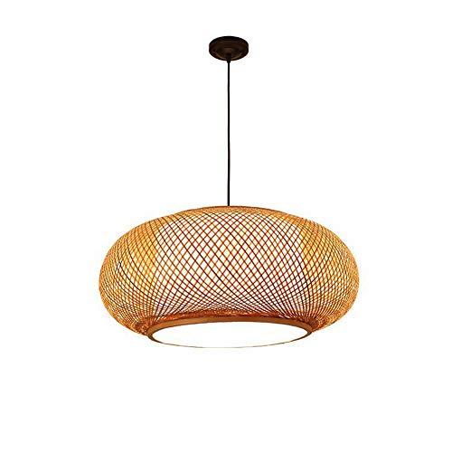 Hanglamp van bamboe, handgevlochten, hanglamp van bamboe, hotellantaarn plafondlamp huis kroonluchter lijn lengte 100 cm verstelbaar 40 x 20 cm
