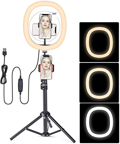 Ring Light with Stand,FDTEK 12 inch Selfie Dimmable LED Ring Light with Tripod Stand and Phone...