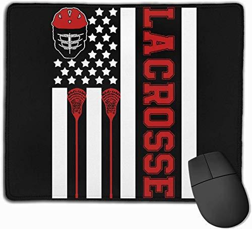 Alfombrilla de ratón con diseño de bandera americana lacrosse Gear antideslizante base de goma resistente al agua para ordenador portátil, ordenador, PC, teclado