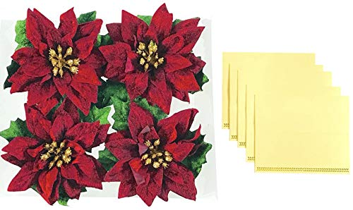 Holiday Red Poinsettia Napkin Rings Set of 4