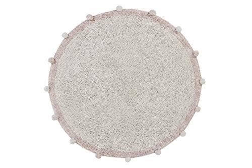 Lorena Canals - Alfombra Lavable Bubbly Natural - Vintage Nude - Natural, Rosa Palo - 97% algodón 3% Otras Fibras. Base: Algodón Reciclado - Ø120 cm