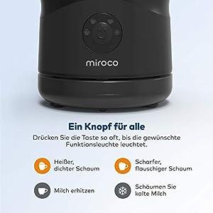 Miroco Milchaufschäumer Elektrisch Automatischer Edelstahl Milchschäumer, Leiser, Strix-Steuerung, Antihaftbeschichtung, Erhitzen und Aufschäumen für heiße und kalte Milch(Schwarz)