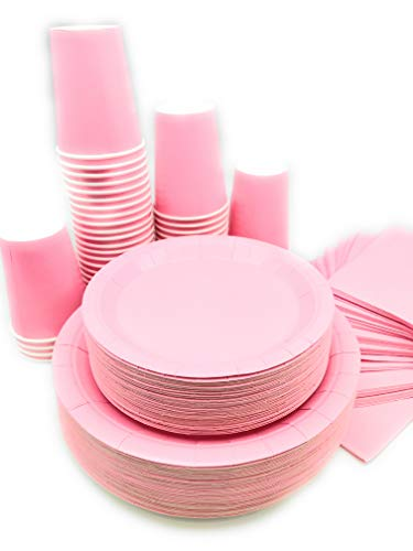 Serves 50 | Complete Party Pack | Light Pink | 9' Dinner Paper Plates | 7' Dessert Paper Plates | 9 oz Cups | 3 Ply Napkins | Light Pink/Baby Shower Party Theme