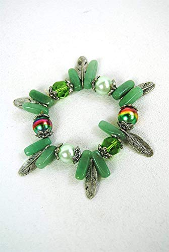 FSL Bracelet Jade Coloured Green and Silver Stretch Beaded Feather Charms