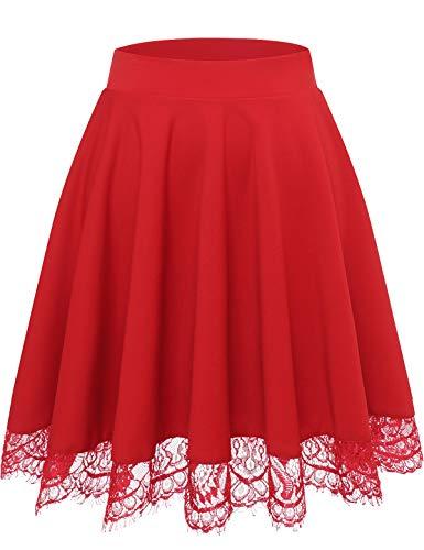 Bbonlinedress Damen Basic Solide Vielseitige Dehnbar Informell Mini Glocken Rock Röcke für Damen Mini A Linie Rock Rot Red M