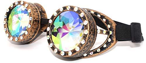 4sold, TM Steampunk Cyber-Schutzbrille, Rave, Goth, Vintage, viktorianischer Stil, Schwarz, Damen, b-1, Diamond Gold Kaleidoskop, Universal