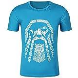 YANGFJcor Camiseta para hombre con cuello redondo y tótem de Viking Odin, tatuaje unisex con estampado 3D de Hip Hop Harajuku, camiseta de manga corta Valhalla de moda, tops de verano,Light blue,3XL