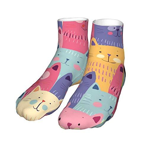 Calcetines unisex 3d de la multitud de gatos kawaii tacón negro clásicos calcetines gruesos calcetines 30 cm para hombres mujeres deportes de invierno entrenamiento de trabajo
